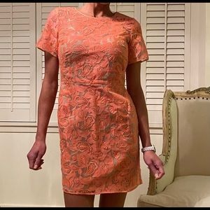 Veronica Beard coral/pink embroidered lace dress